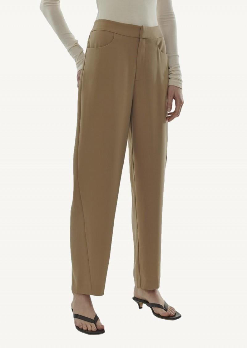 Pantalon ajusté en crêpe khaki