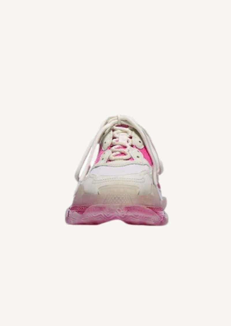 White and pink Triple S sneakers with clear sole