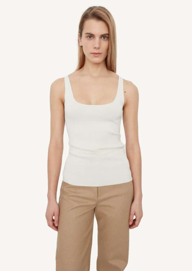 Ivory tank top with square neck