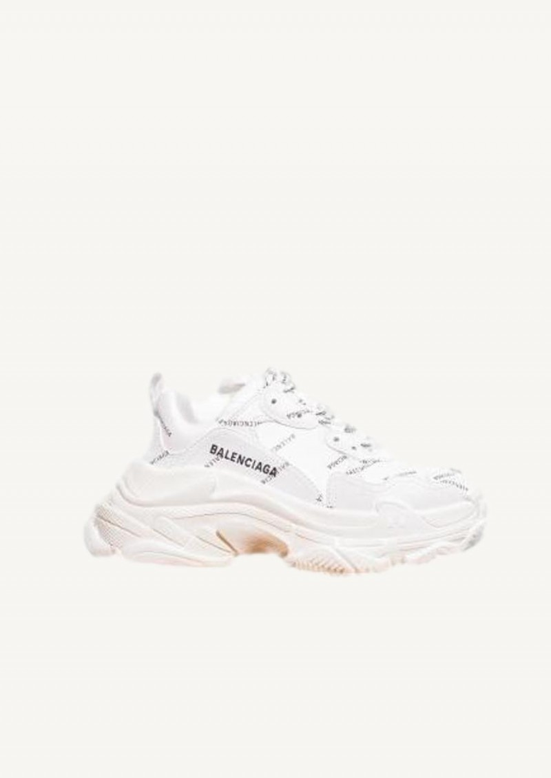 White Triple S sneakers with all-over logo