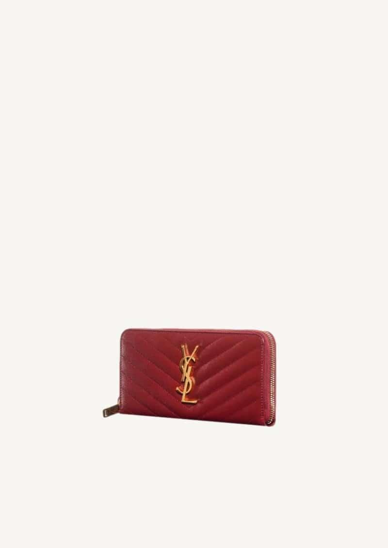 Opyum red monogram zip around wallet gold finishes