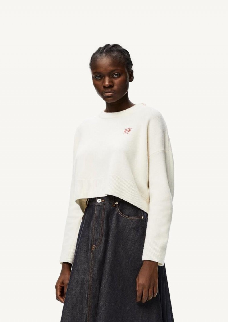 White anagram embroidered cropped sweater