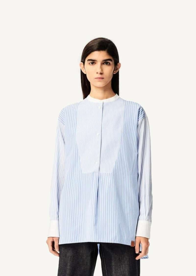 White and blue striped tunic top