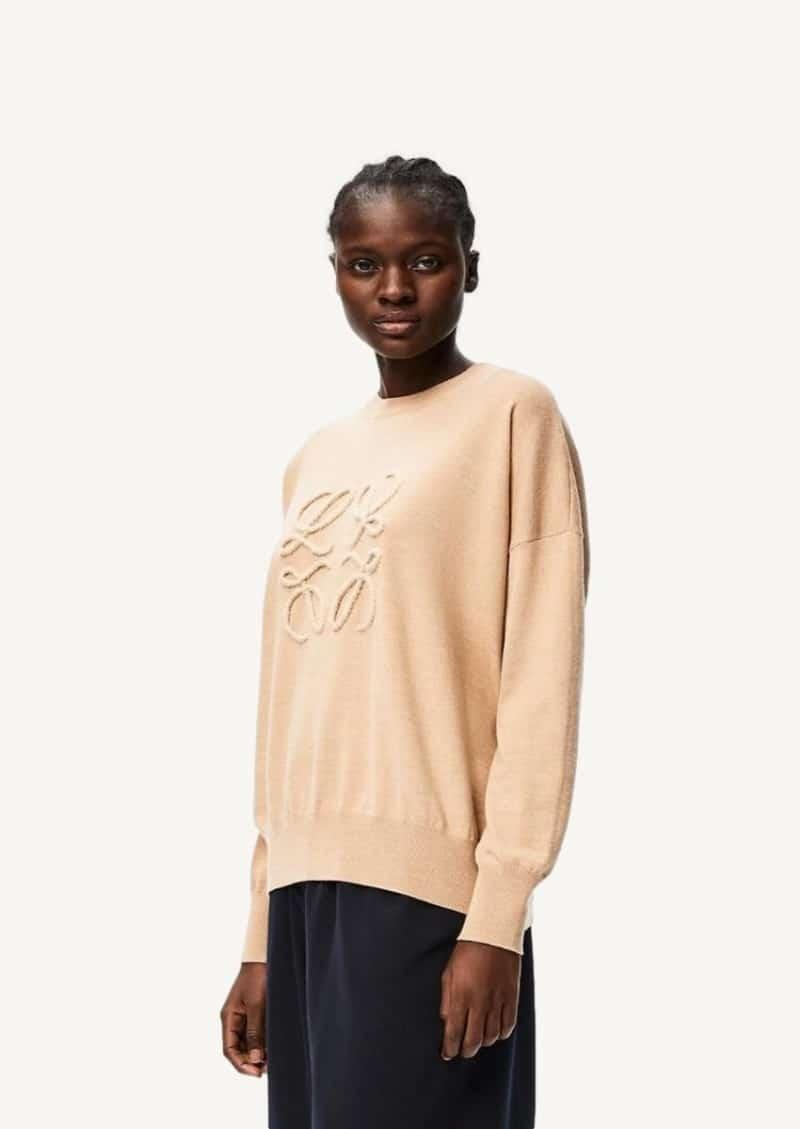 Beige anagram embroidered sweater