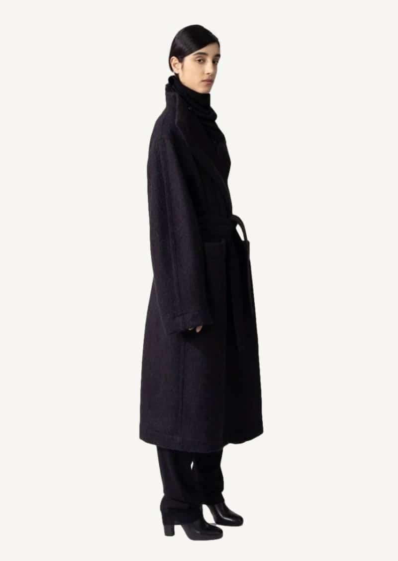 Black wool and alpaca wrapover coat