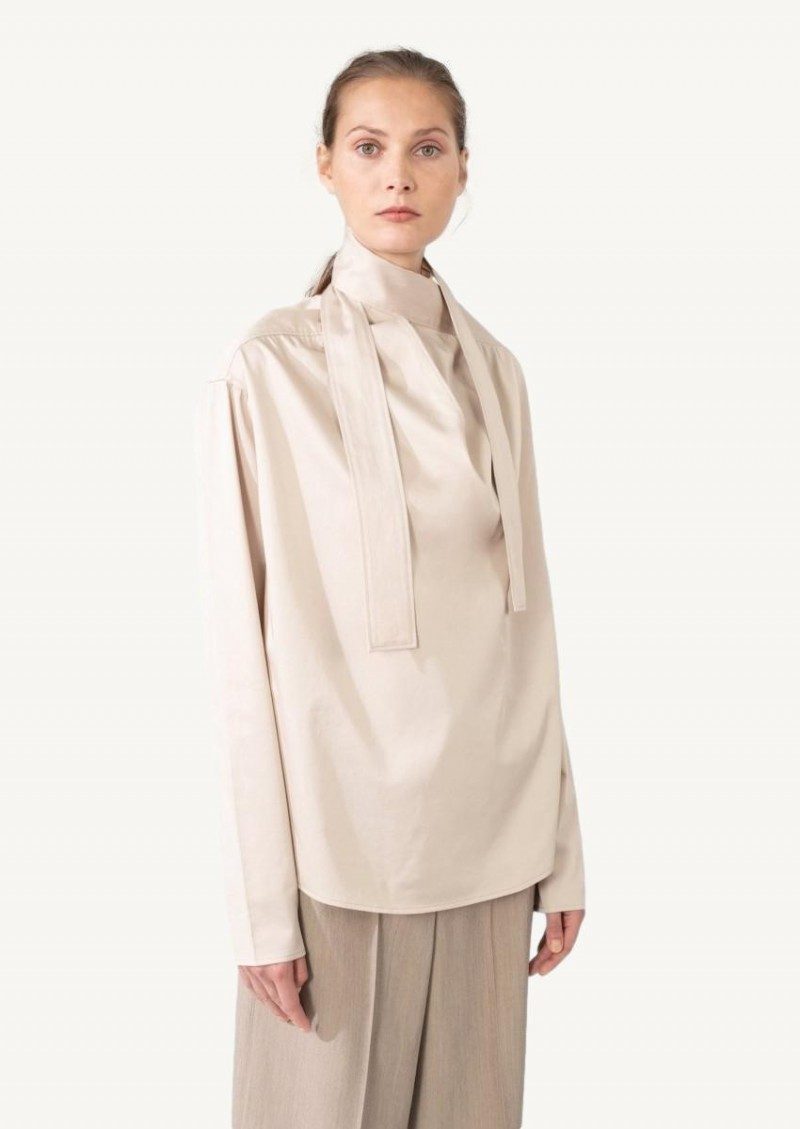 Oatmeal blouse with tie
