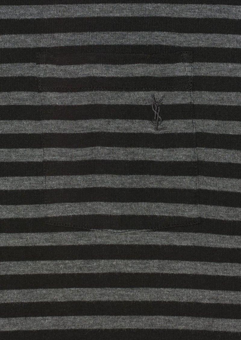 T-shirt rayé noir et gris