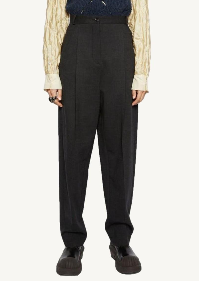 Pantalon fuselé en laine mélangée gris charbon