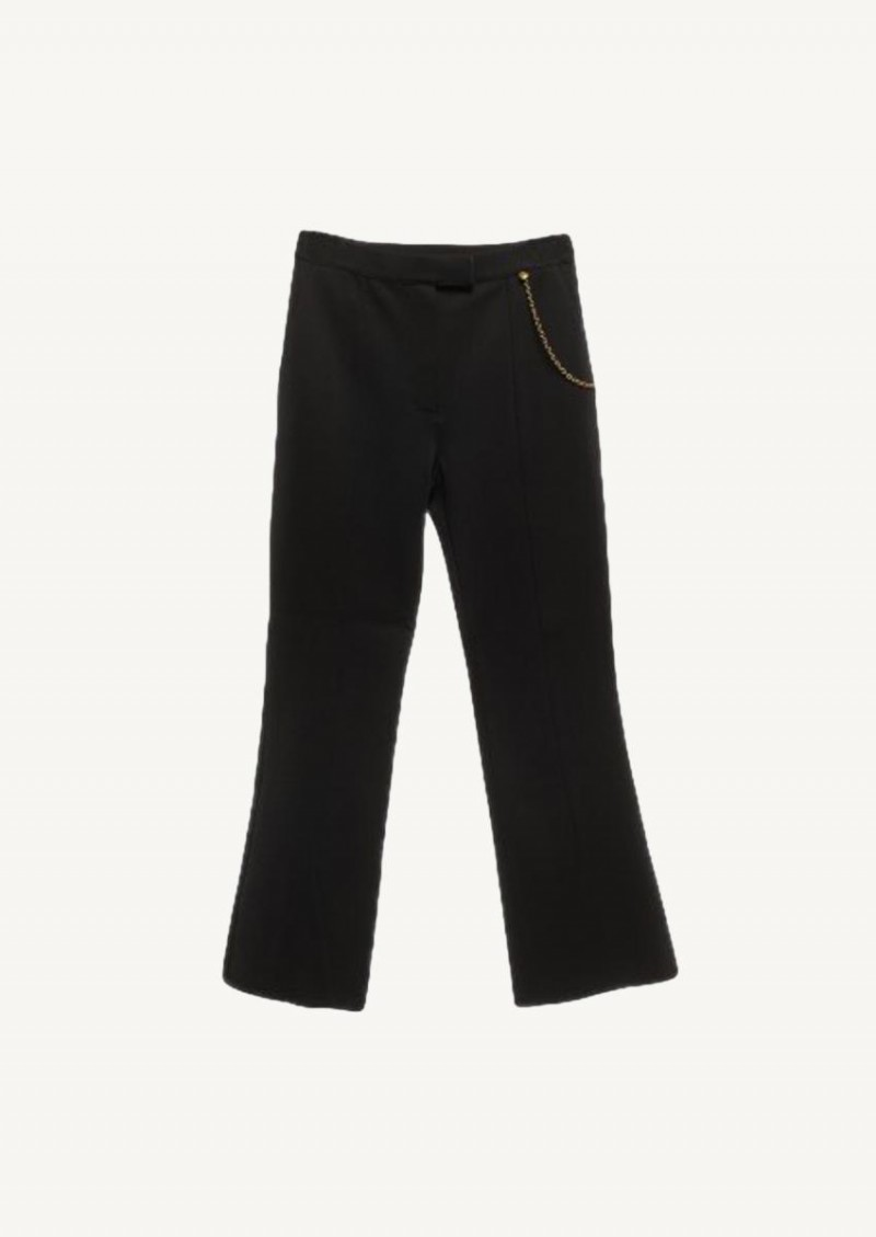 Black flared pants with chain