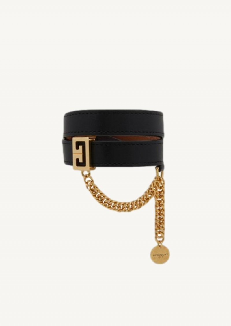 Black double row bracelet in brass and leather