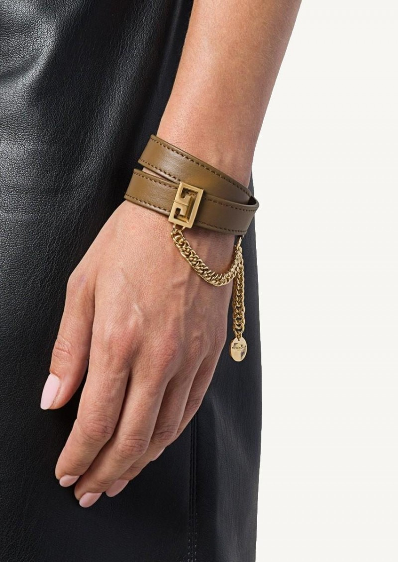 Military double row bracelet in brass and leather