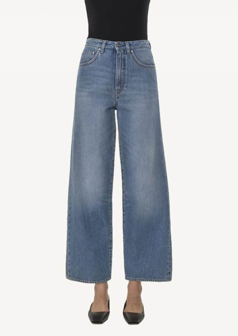 Washed blue flare fit jeans