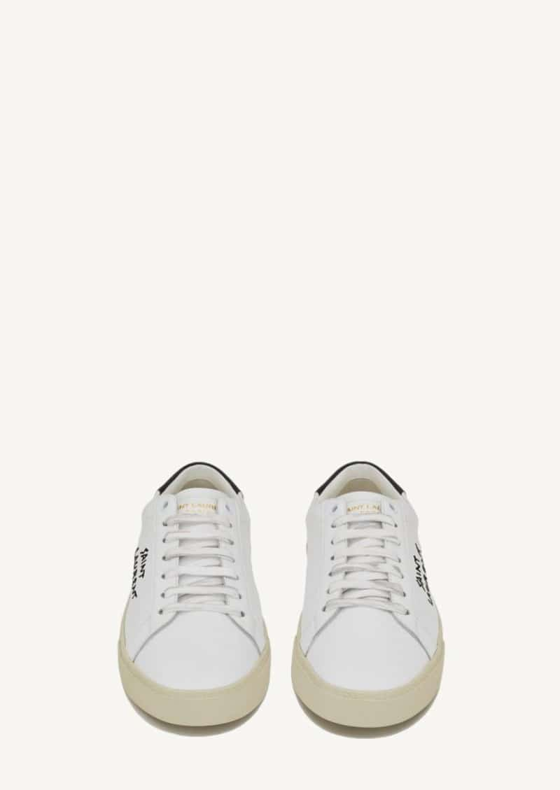Optic white court classic embroidered sneakers