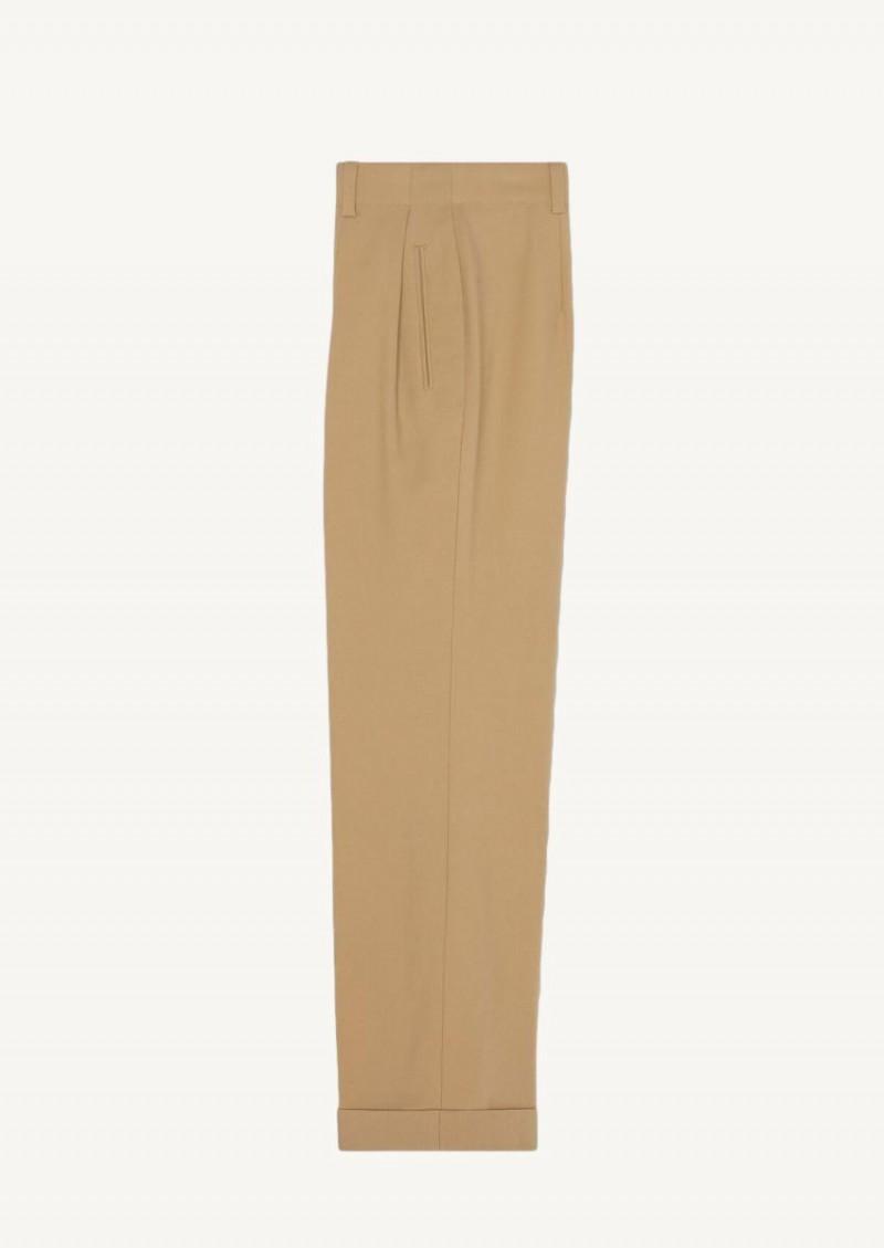Beige high-waisted pleated pants in gabardine