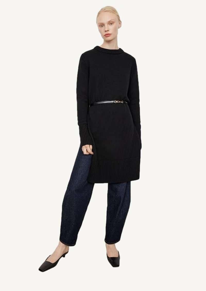 Black merino slit knit