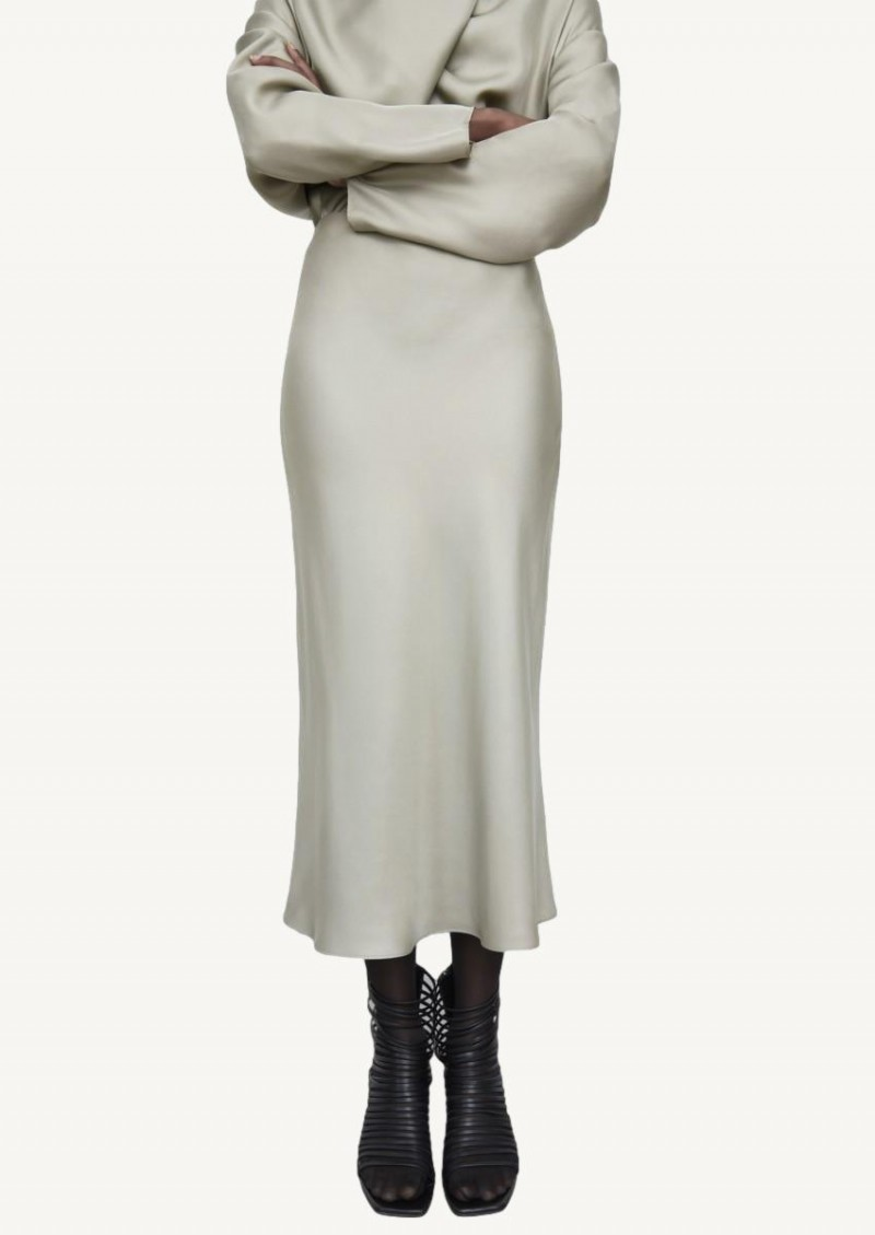 Sage slip silk skirt