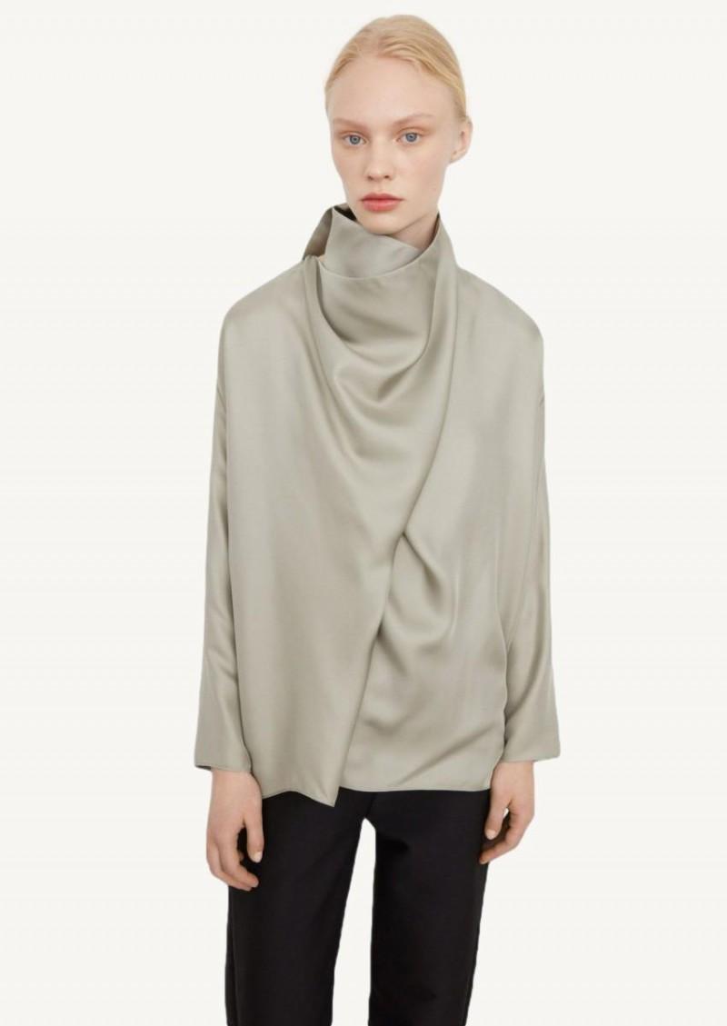 Sage draped silk blouse