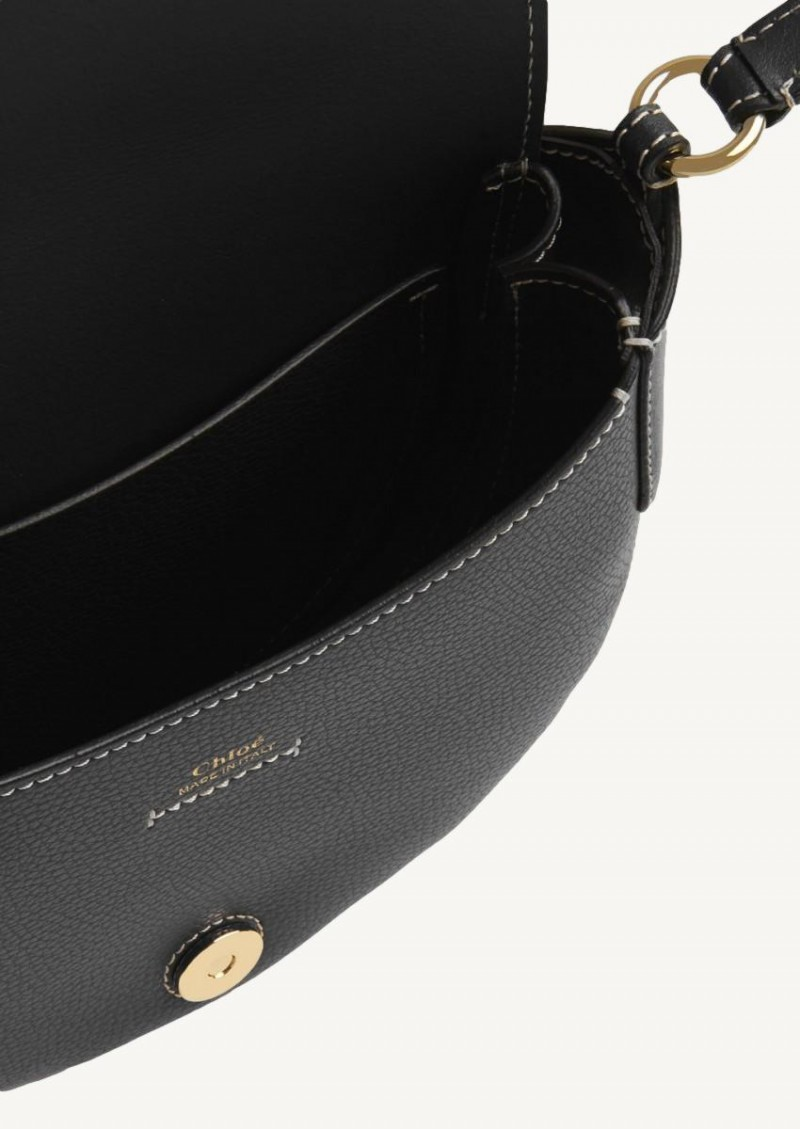 Black small Darryl shoulder bag in grained and smooth calfskin
