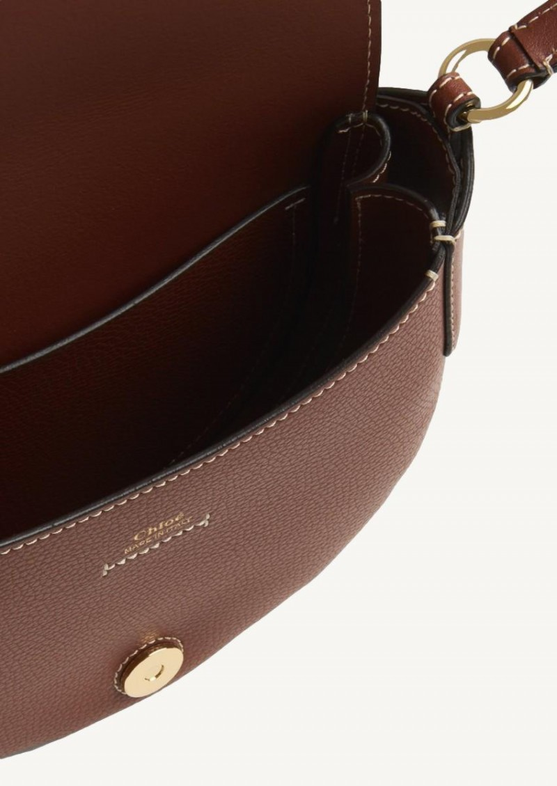 Sepia brown small Darryl shoulder bag in grained and smooth calfskin