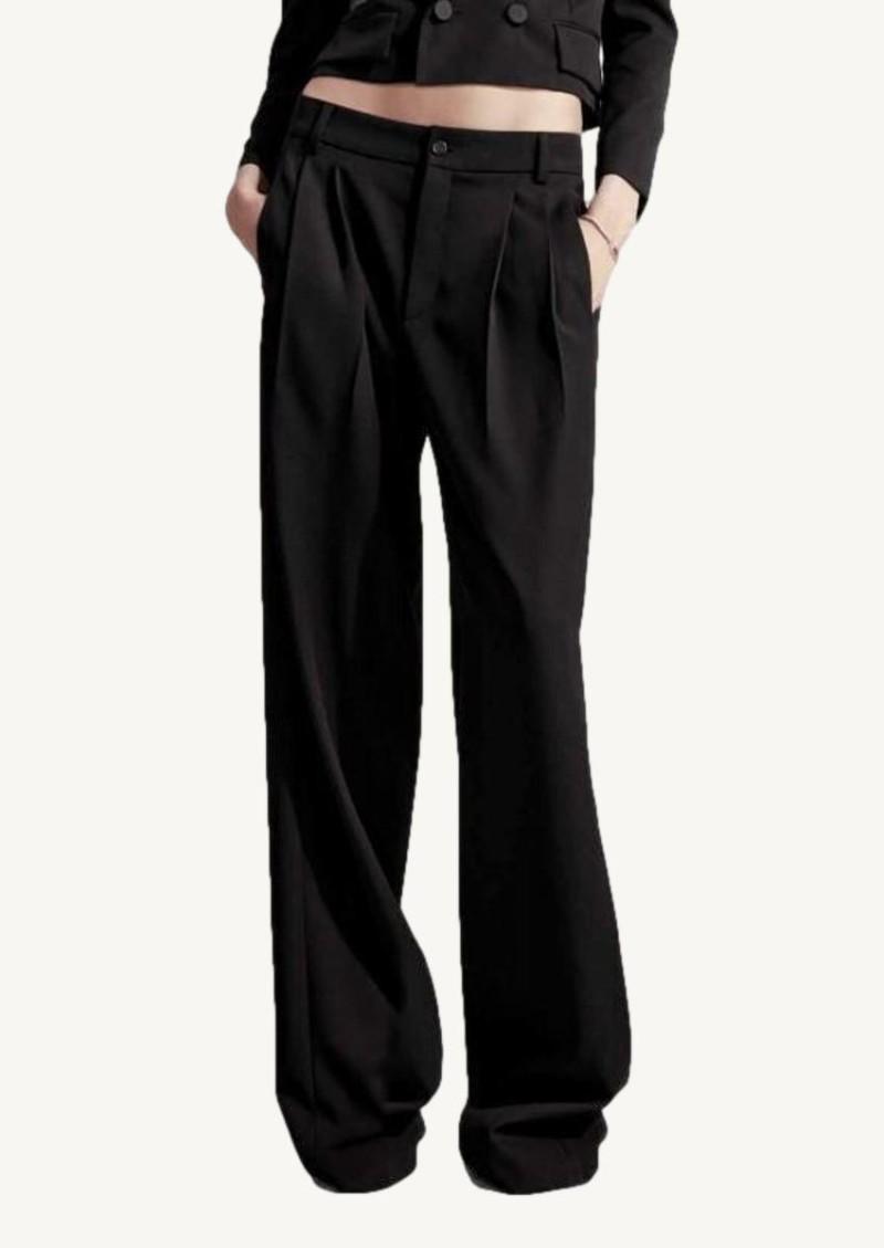 Black grain de poudre pleated pants