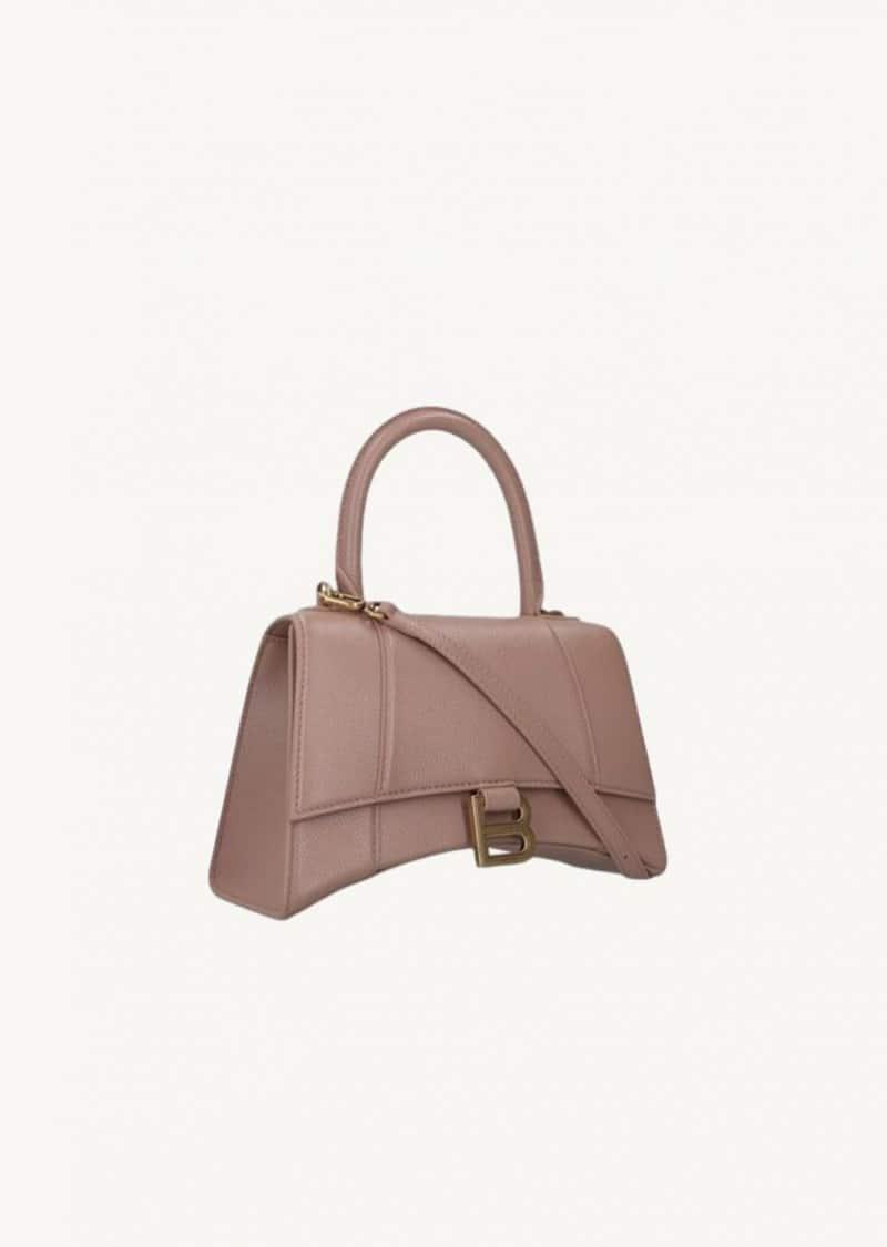 Beige small Hourglass top-handle bag