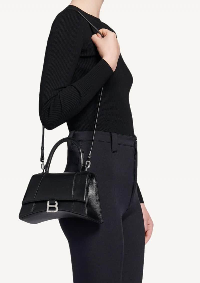 Black small Hourglass top-handle bag