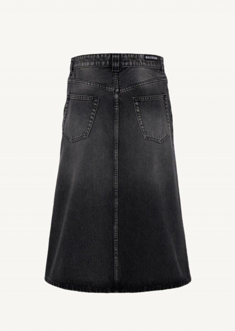Dirty vintage black denim midi skirt