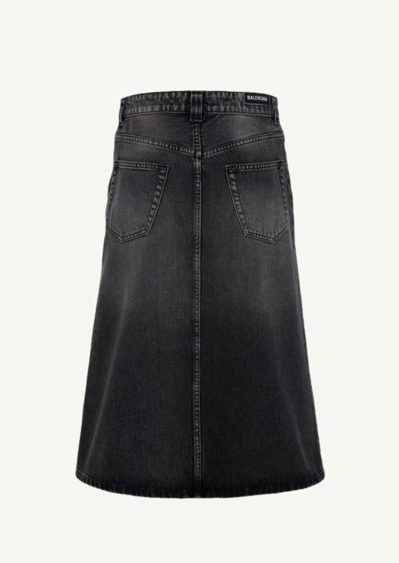 Jupe midi en jean noir vintage