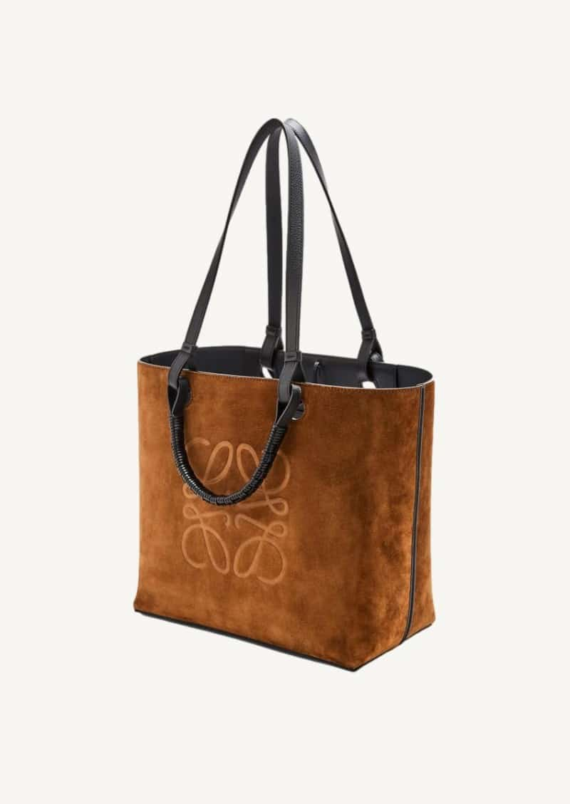 Gold anagram tote in classic calfskin and suede