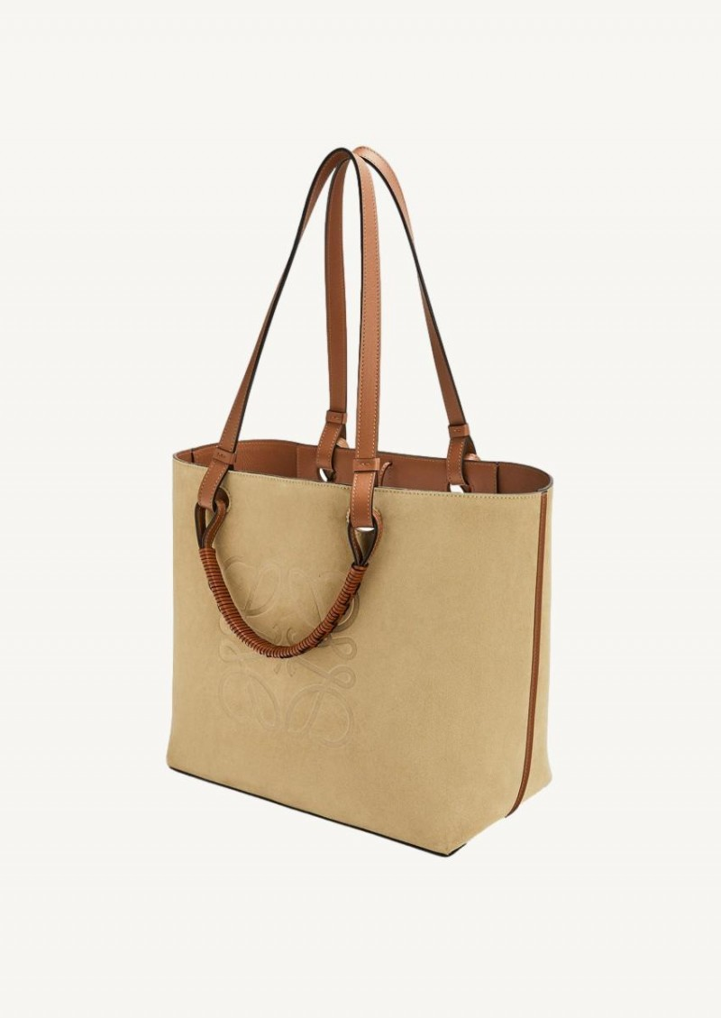Cacao anagram tote in classic calfskin and suede