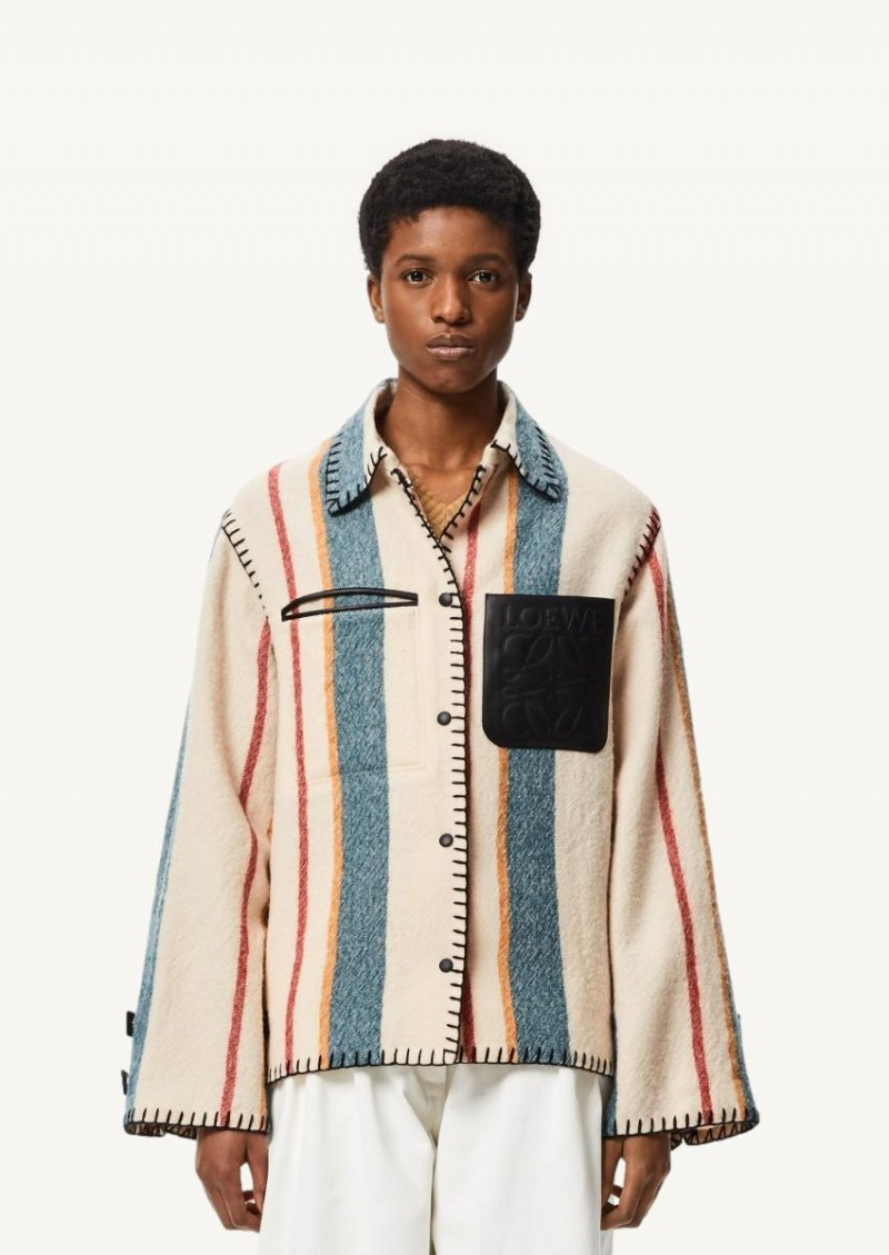 Multi-colored striped virgin wool button-down jacket
