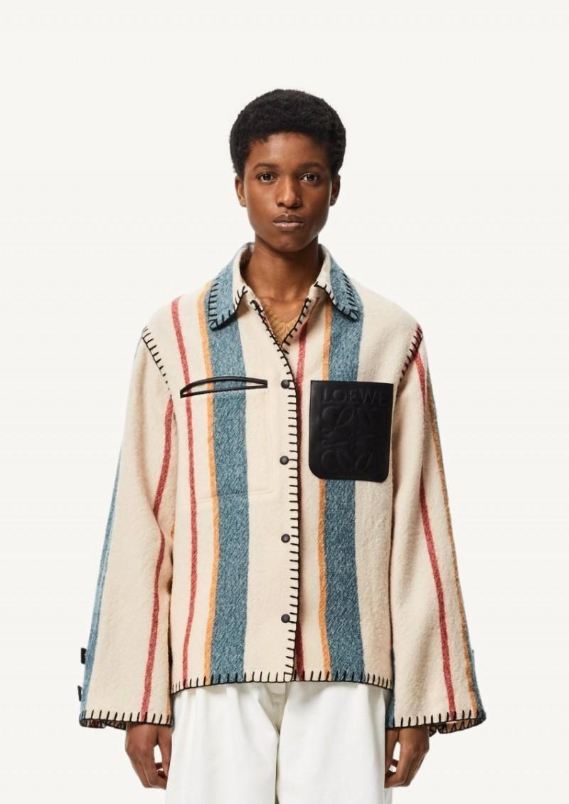 Veste boutonnée en laine vierge à rayure multicolore