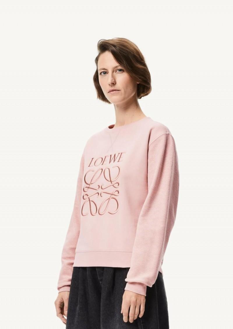 Pale salmon embroidered anagram sweatshirt in cotton