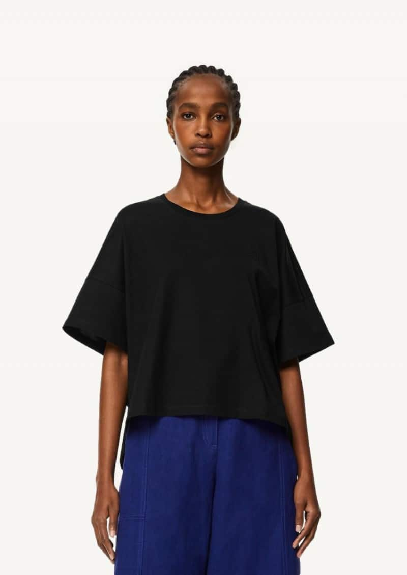 Black Anagram cropped t-shirt in cotton