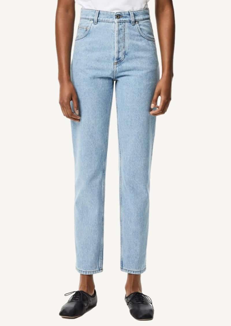 Light blue tapered jeans washed denim