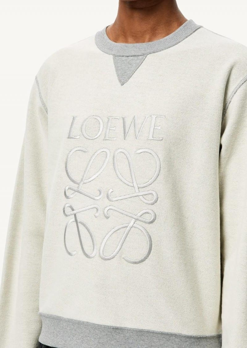 Grey melange embroidered anagram sweatshirt in cotton