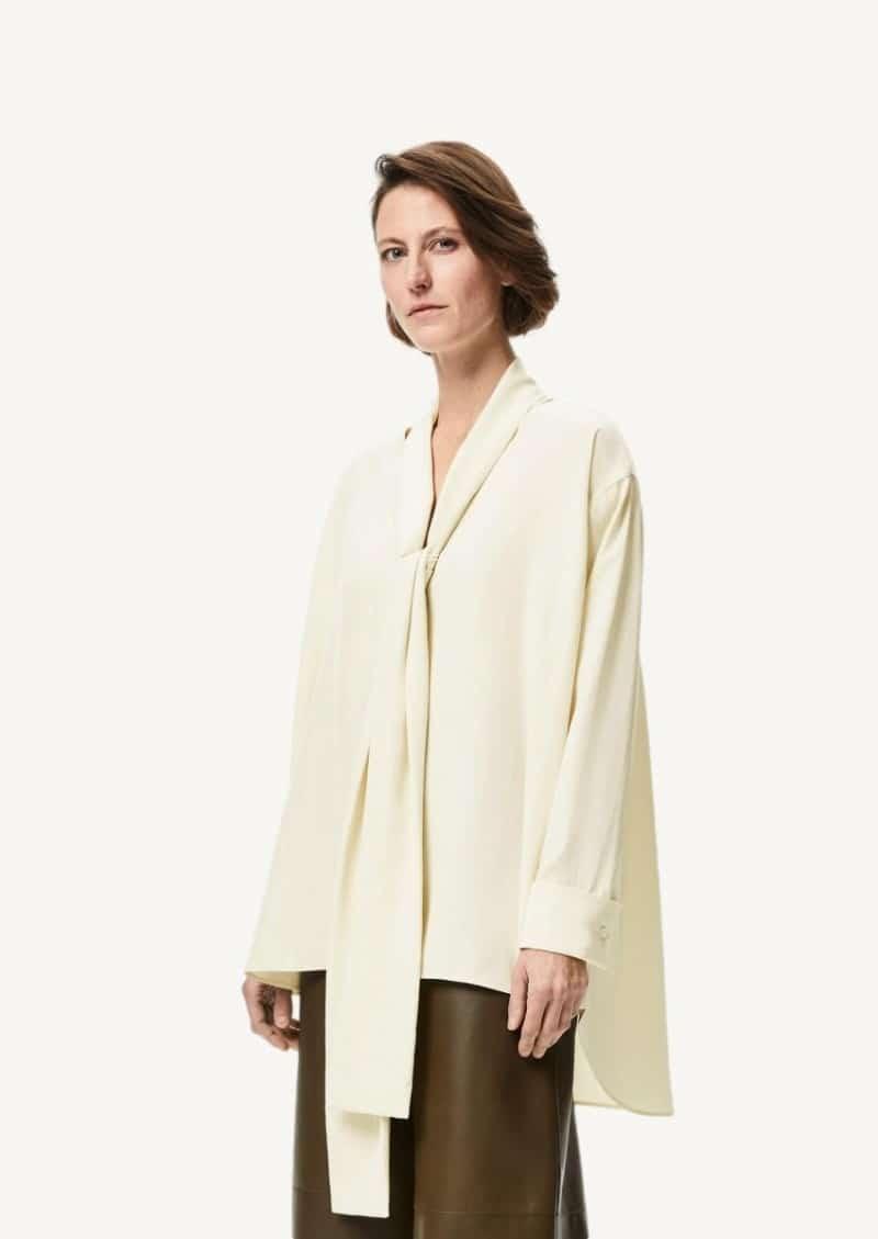 Sage silk lavallière blouse