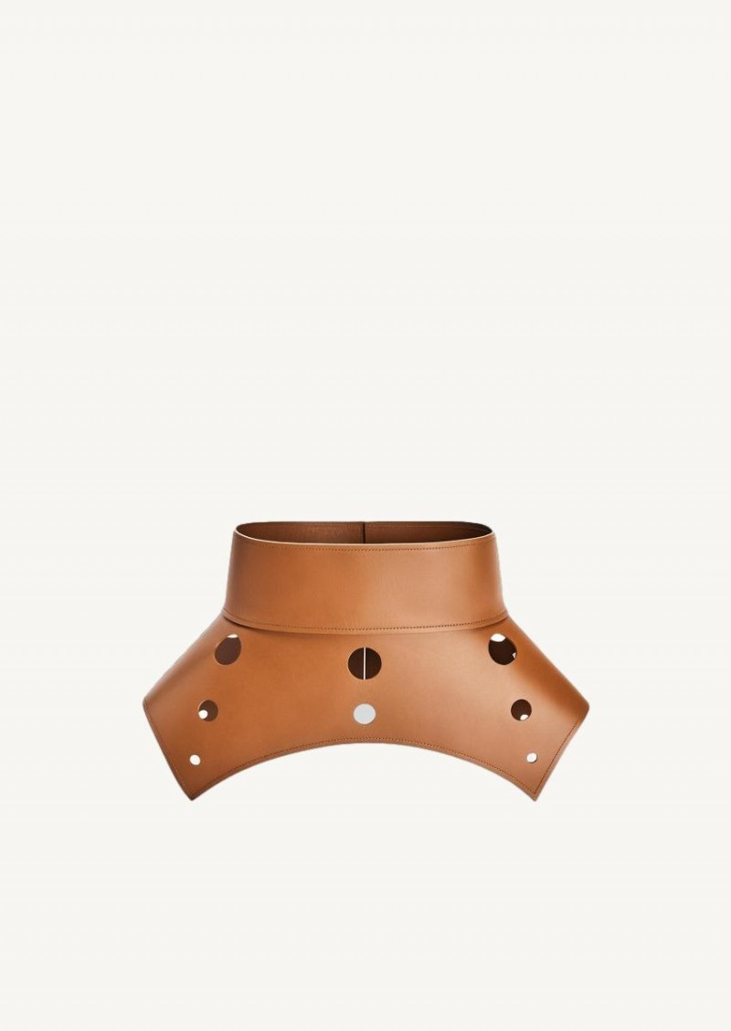 Tan cut-out obi belt in calfskin