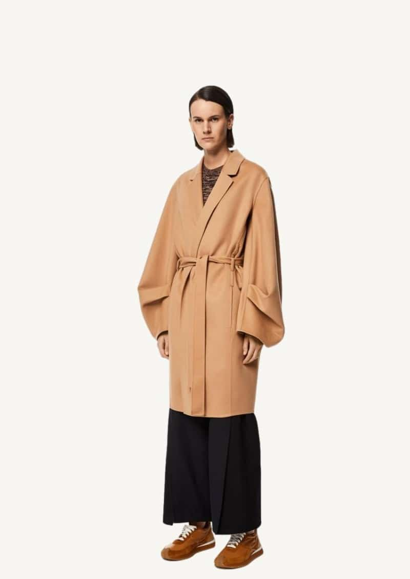 Brown Sugar Belted coat in wool and cashmere