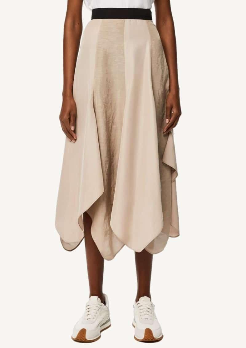 Black and taupe Petal hem skirt in linen