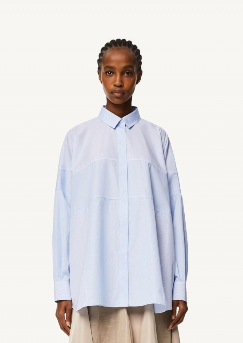 White and Blue Stripe patchwork shirt