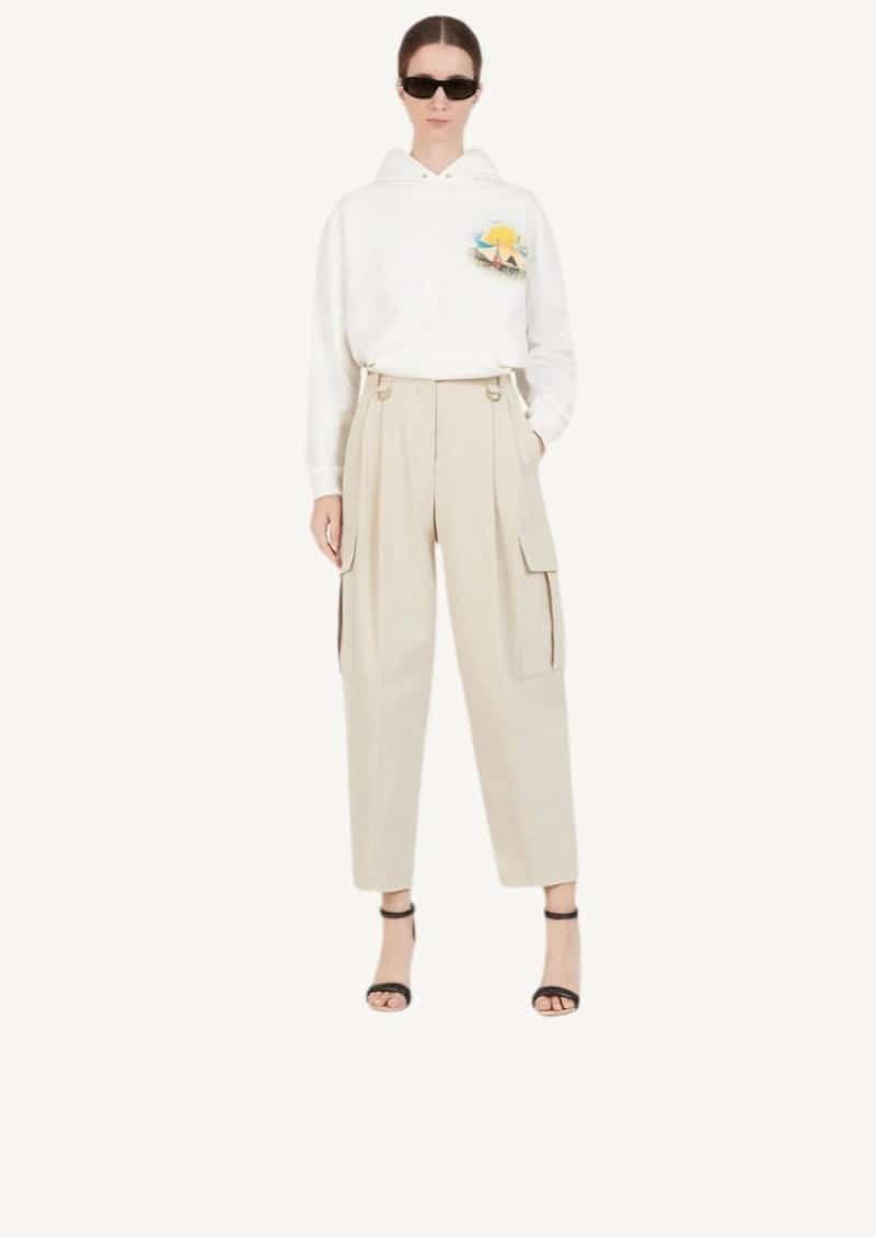 Pantalon cargo à détail métalliques mastic