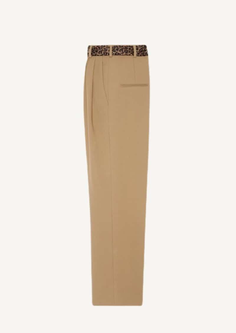 Pantalon à plis en gabardine de laine avec ceinture en soie beige