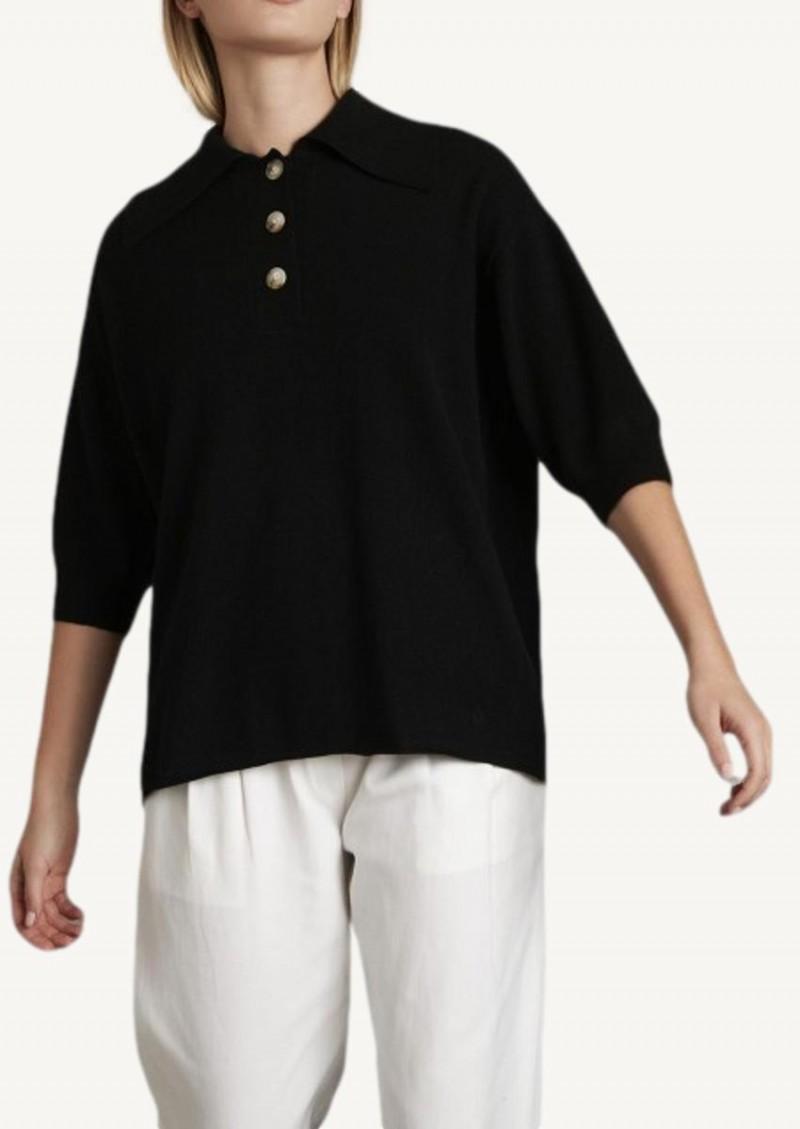 Black Saziley cashmere polo shirt
