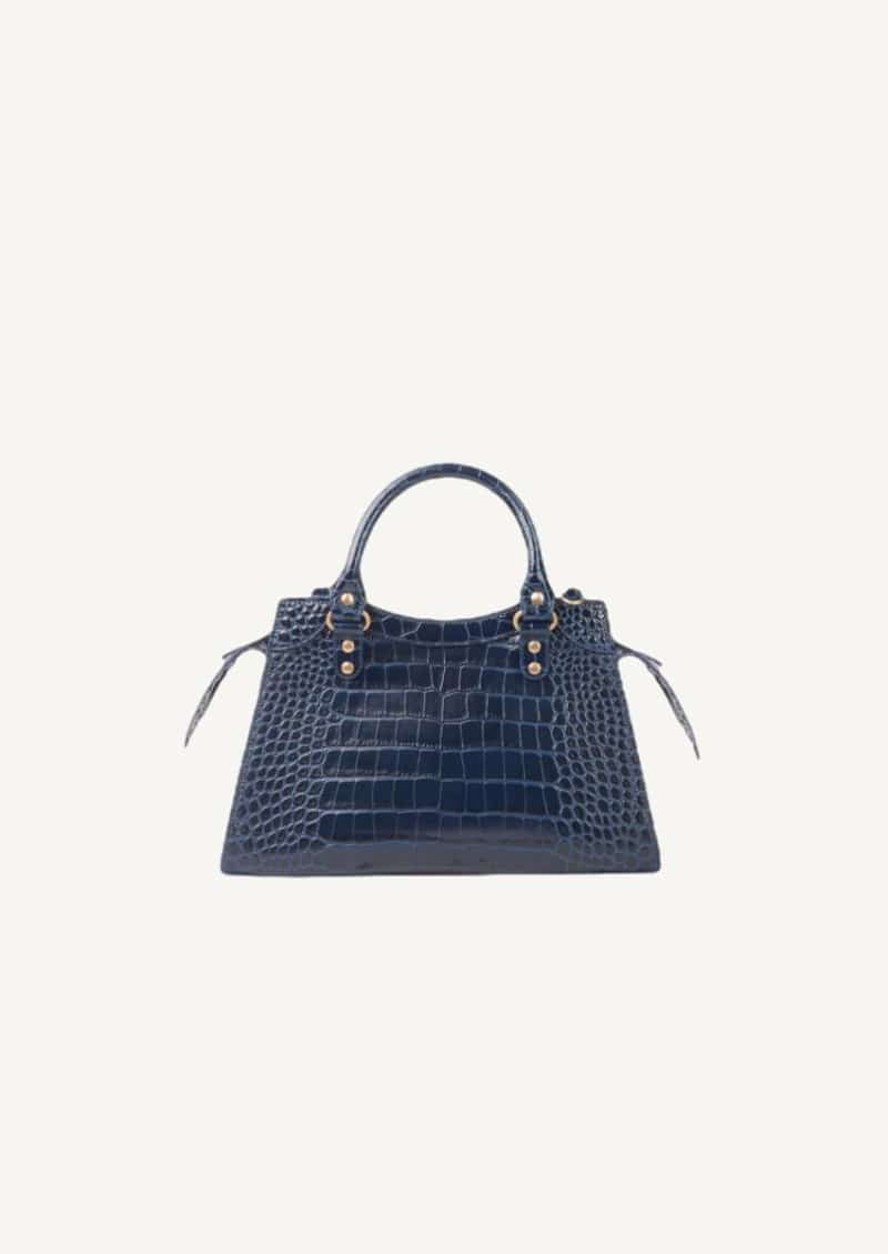 Navy small Top Handle Neo Classic bag in shiny crocodile embossing