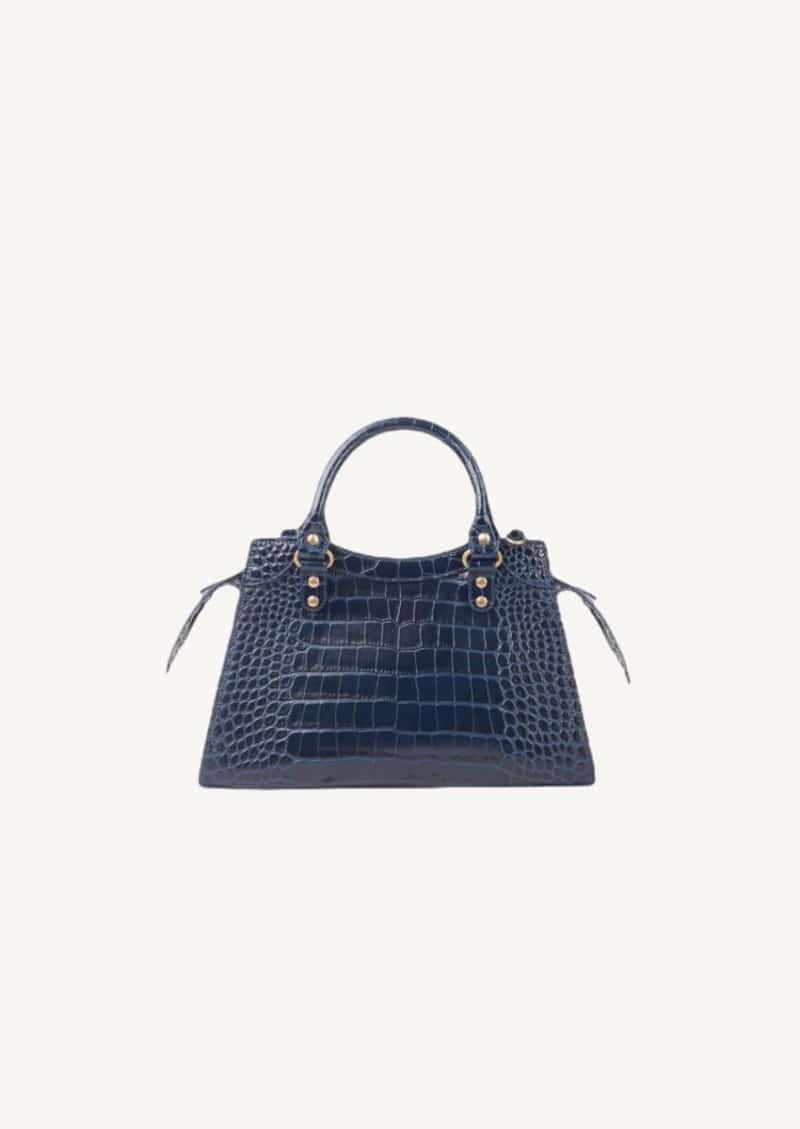 Petit sac Top Handle Neo Classic embossé crocodile brillant bleu marine