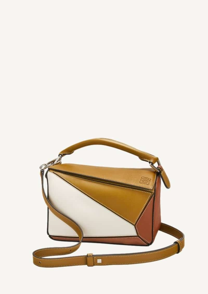 Ochre green and soft white small Puzzle bag in calfskin