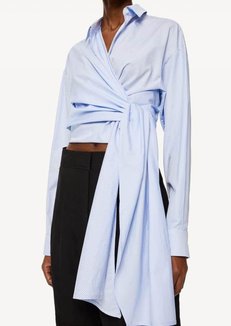 Top cache-coeur raye en coton blanc et bleu