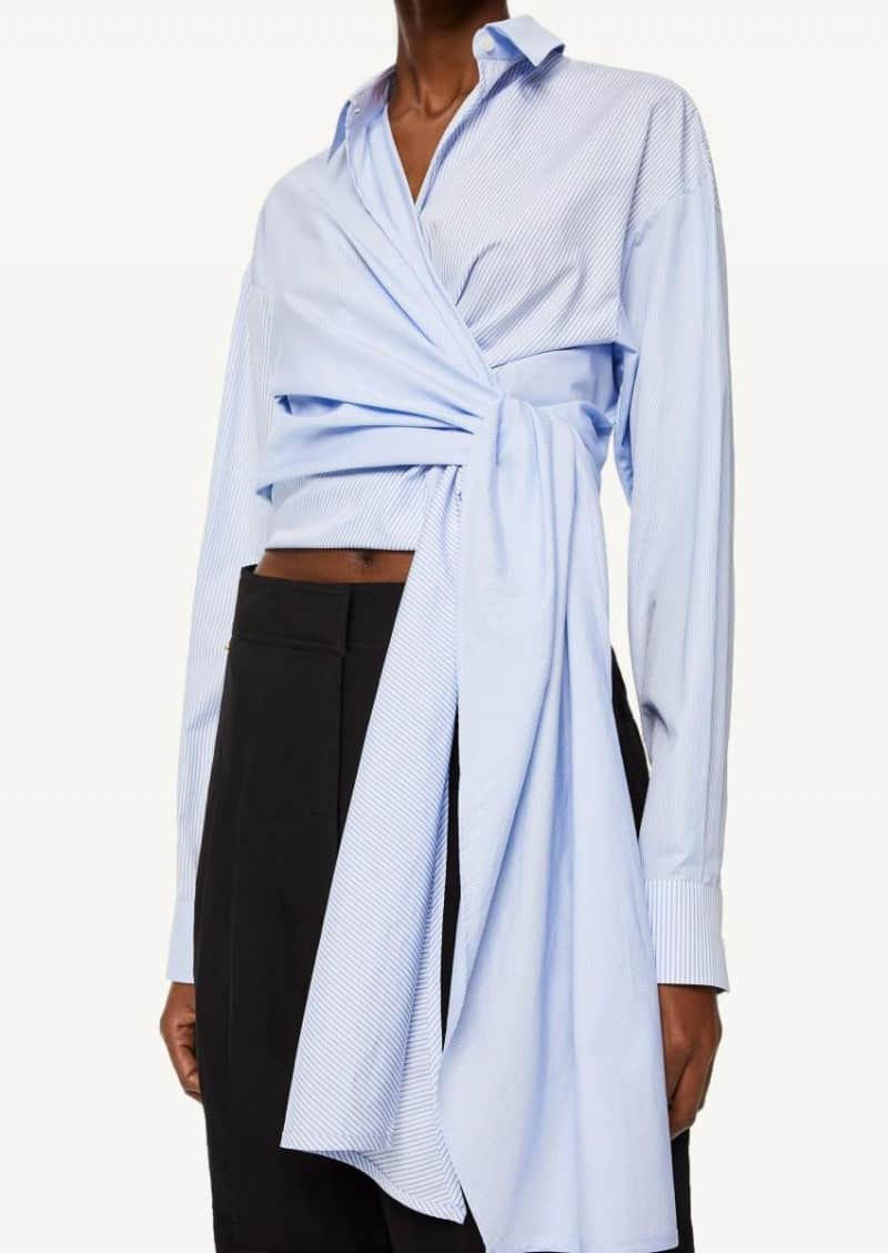 White and blue striped wrap top in cotton