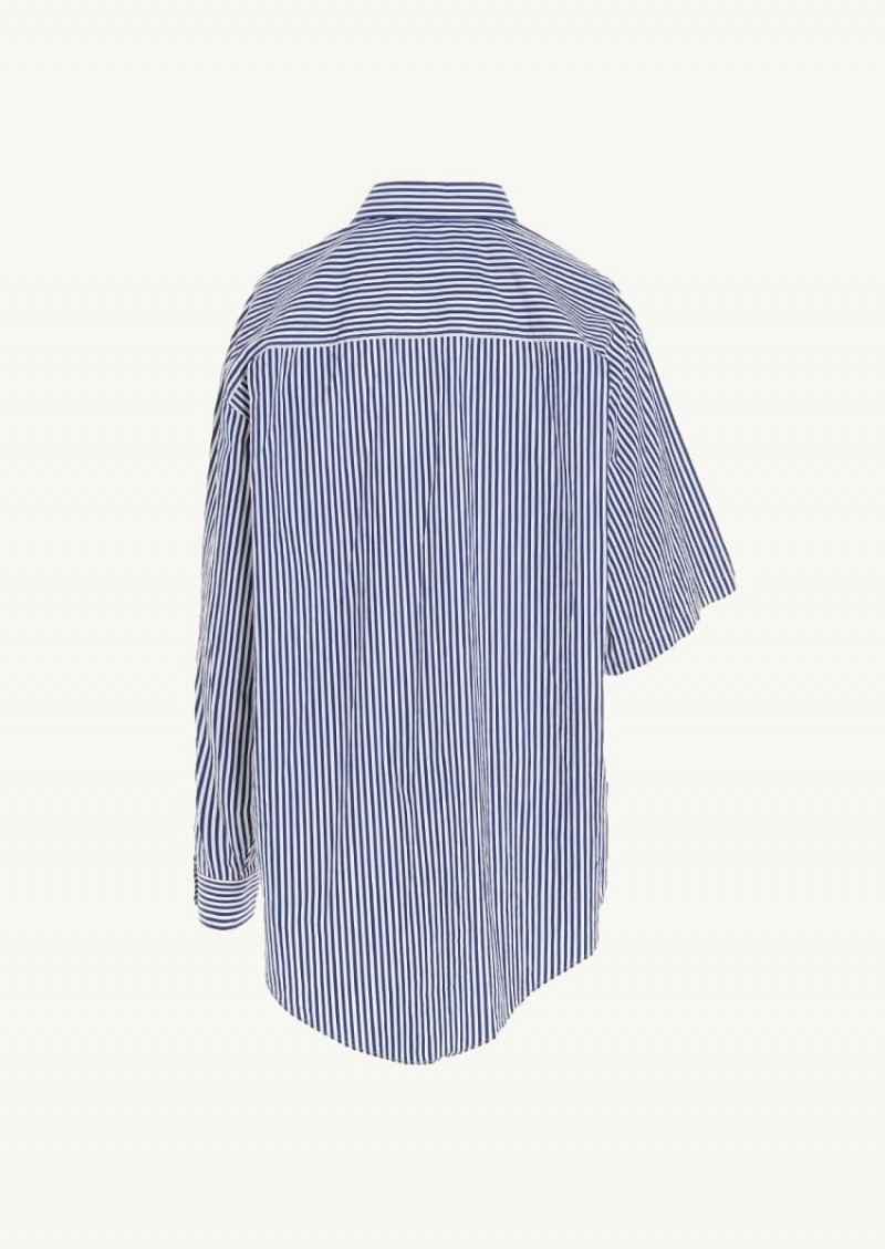 White and blue asymmetric striped shirt
